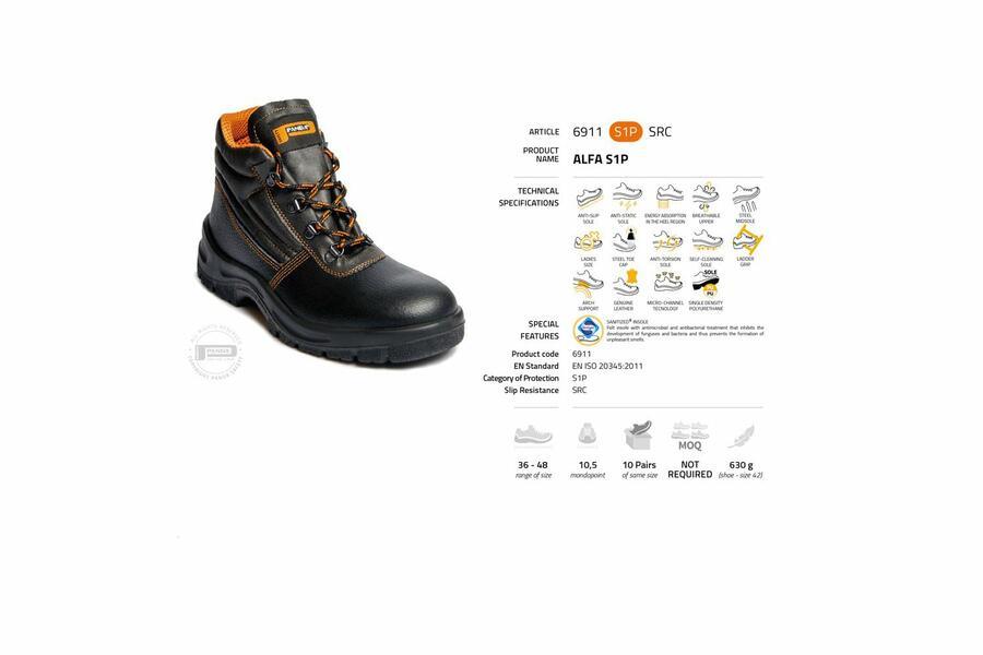 Scarpa da lavoro alta ALFA S1P | 6911 S1P SRC Made in Italy