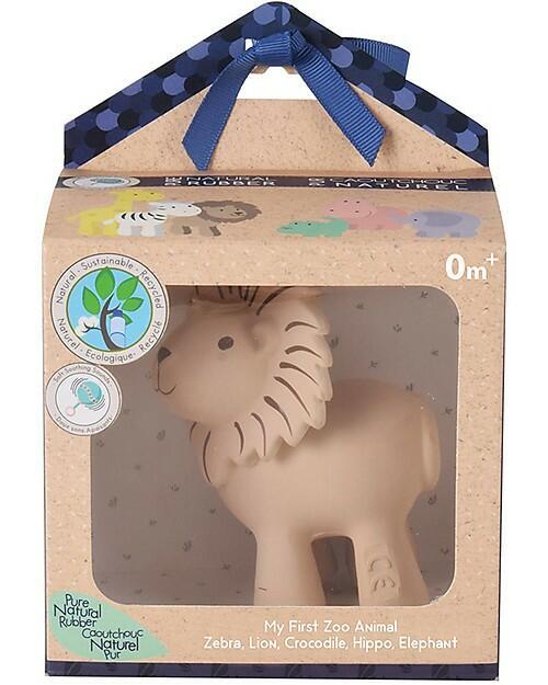 3-in-1 Sonaglio Leone, Massaggiagengive, Gioco da Bagno, My First Zoo - Confezione Regalo - 100% Caucciù Naturale