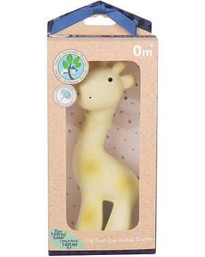 3-in-1 Sonaglio Giraffa, Massaggiagengive, Gioco da Bagno, My First Zoo - Confezione Regalo - 100% Caucciù Naturale