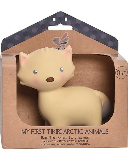 3-in-1 Sonaglio Volpe, Massaggiagengive, Gioco da Bagno, My First Arctic Animals - 100% Caucciù Naturale