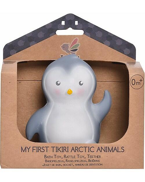 3-in-1 Sonaglio Pinguino, Massaggiagengive, Gioco da Bagno, My First Arctic Animals - 100% Caucciù Naturale