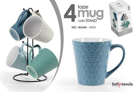 4 Tazze Mug 360 ML da Latte Tè The Caffè Cappuccino Colazione con Supporto Stand in Metallo Colorate