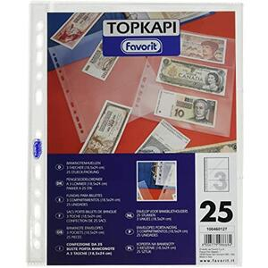 25 Buste porta Banconote a 3 tasche