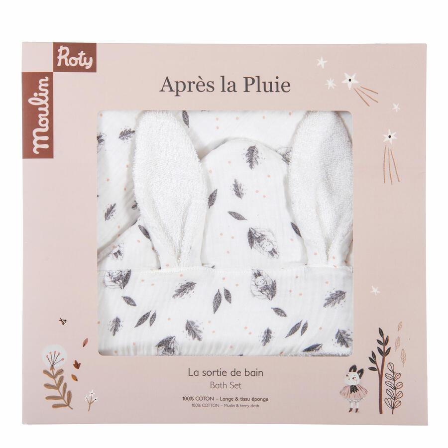 Après la Pluie - Accappatoio Triangolo Neonato in Cotone Bio con orecchie da coniglio