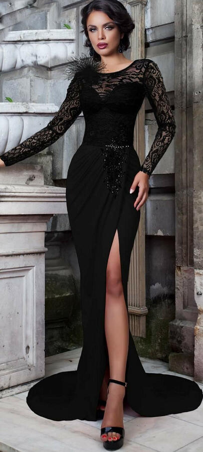 0753 LONG WALLET DRESS IN ELASTIC CREPE FABRIC WITH LACE TRANSPARENCIES