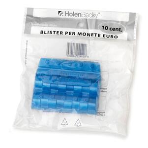 Blister 20 Portamonete in PVC 10 centesimi blu