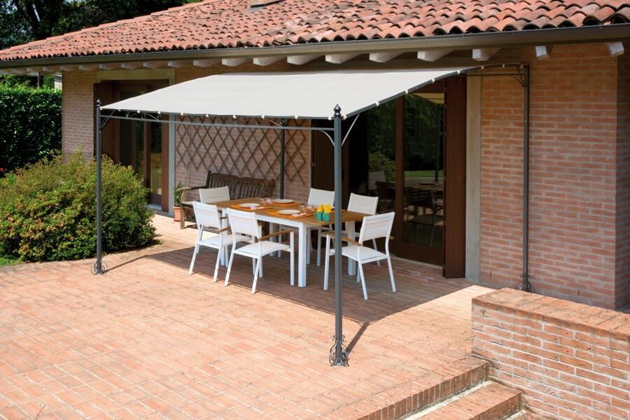 Gazebo pergola a muro PERGOLA KANSAS  2,5 x 3 giardino terrazza Top Design telo color sabbia gaz 367