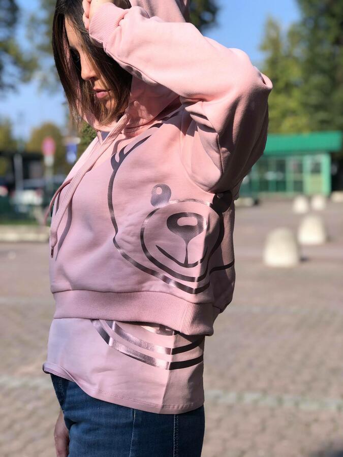 Felpa cappuccio Moschino rosa stampa teddy silouette