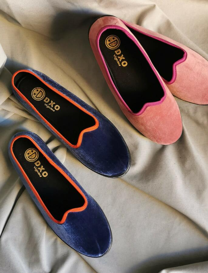 Pantofola modello Friulana Blu/Arancio