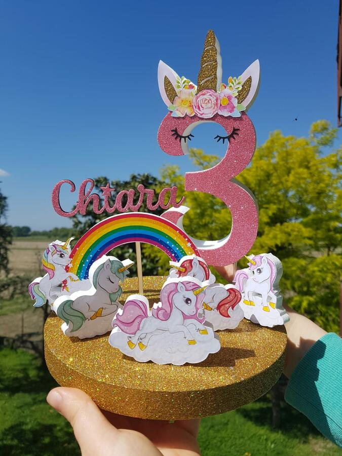 Cake topper unicorno con numeroe  nome