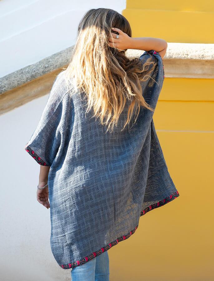 Cardigan lungo donna Komal - Grigio Blu