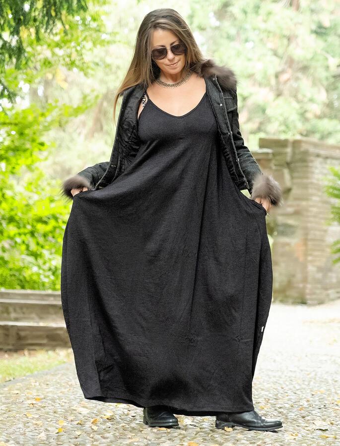 Vestito lungo Veena - Nero