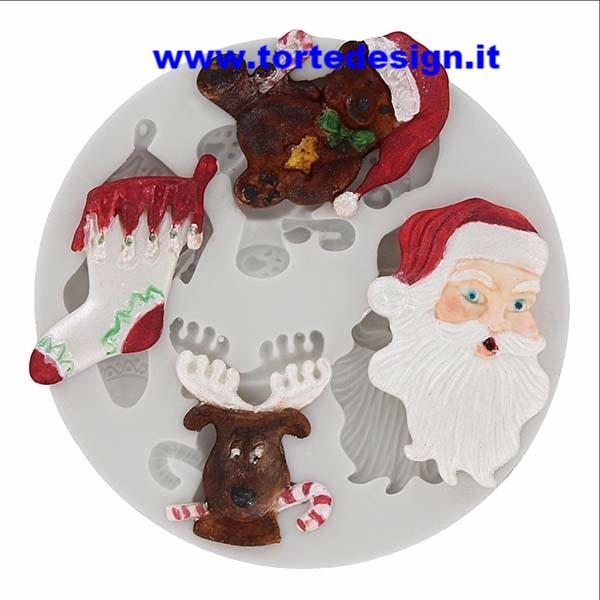 stampo silicone 4 soggetti natalizi
