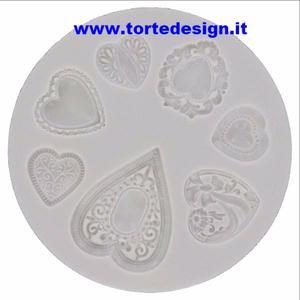 stampo silicone 7 cuori  decorati  (mould)