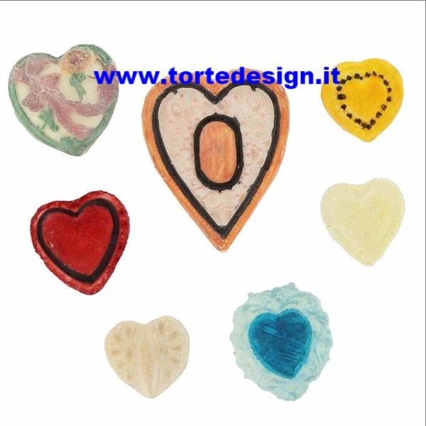 stampo silicone 7 cuori  decorati  (mould)