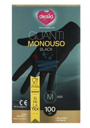 100 GUANTI MONOUSO NERO BLACK SIMILATEX DEALO TAGLIA S/M/L