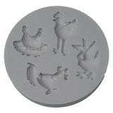 stampo silicone 4 soggetti a tema pollaio