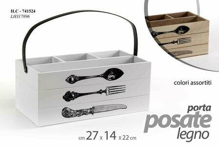 Porta Posate Legno Cofanetto Cucina Organizer Portaposate Scomparti 4 Posti 27cm