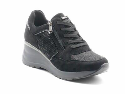 Inblu IN000264 sneaker donna nera zeppa alta