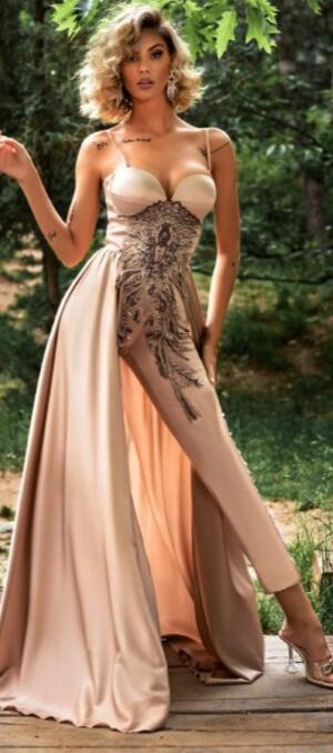 0724 SUIT SUIT IN SAND COLOR SATIN WITH EMBROIDERED EMBROIDERY AND SKIRT PANEL