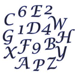 set alfabeto e numeri corsivo maiuscolo FMM