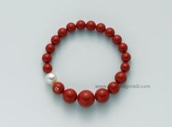 PBR1802 Bracciale color corallo rosso  e Perla Miluna