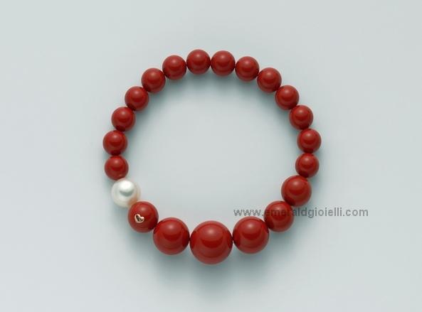 PBR1802 Bracciale con Corallo Rosso e Perla Miluna