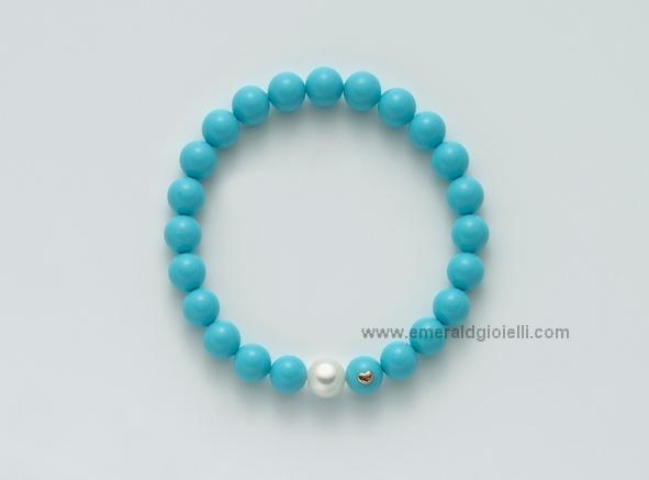 PBR1794 Bracciale Miluna con Turchese e perla