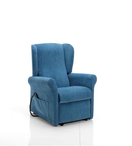 Poltrona Relax Stella Sfoderabile Due Motori con Alzapersona Tessuto Lavabile Colore Blu Consegna 48 Ore