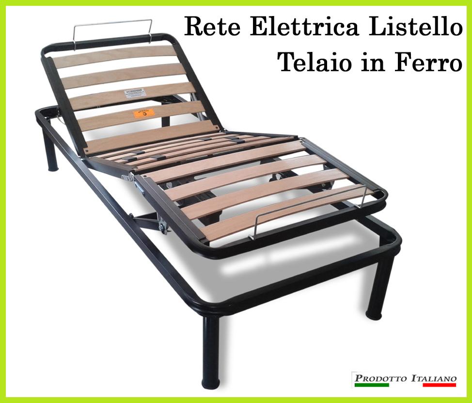 Rete Elettrica Motorizzata a Doghe di Legno Telaio robusto in Ferro Singola 80x190 Mod. Doghette Pronta Consegna - Ergorelax