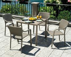 Tavolo da giardino ORLEANS avana spazzolato wicher e resin wood 80 x 80 cm STW55A