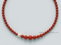PCL4440 Girocollo Miluna con Corallo Rosso e Perla -