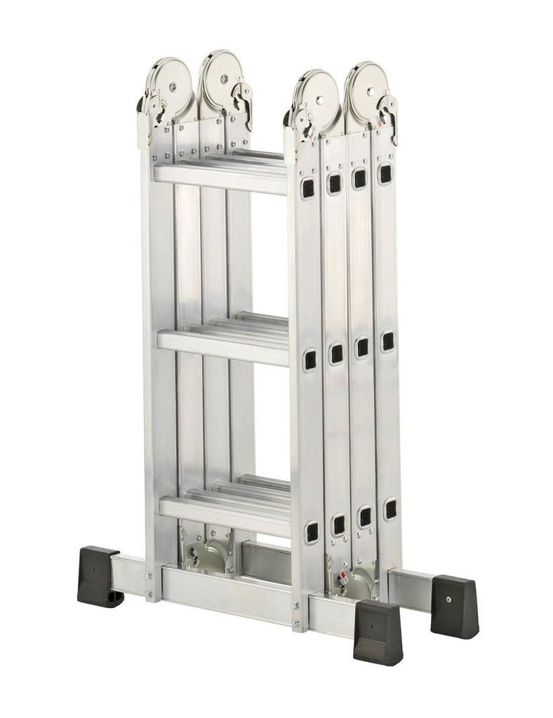 Scala Milleusi pieghevole universale in alluminio 4 x 3 pioli con piattaforma in metallo Hailo 7412-031 -171163