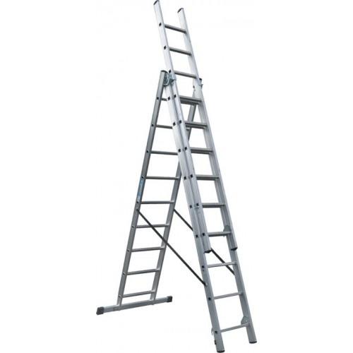 Scala Professionale Industriale In Alluminio Polivalente 3X12 Gradini Maurer Plus 146056