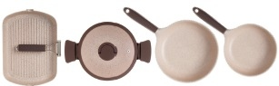 Batteria Pentole Tognana UBIQUA per induzione in granitium 5 pezzi in pietra beige UBIQUA TOGNANA NATURAL STONE Induzione Pietra Granitium Stone CON OMAGGIO