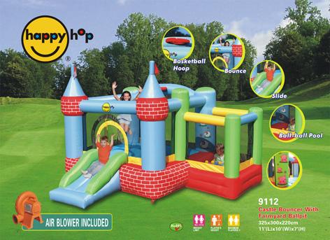 Happy air fattoria art 9112 castello gonfiabile happy hop con scivolo e vasca con 50 palline - Casa gonfiabile per bambini ...