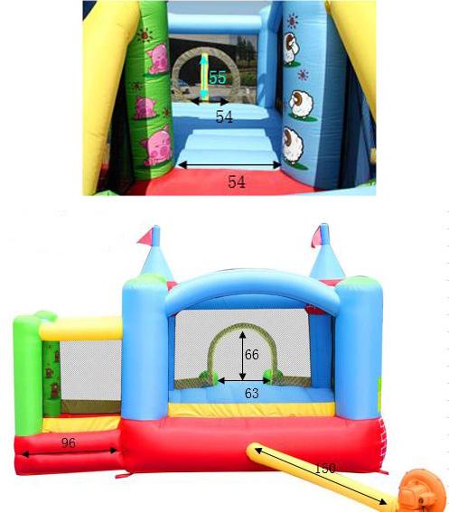 HAPPY AIR FATTORIA Art. 9112 - Castello Gonfiabile Happy Hop con SCIVOLO e VASCA con 50 PALLINE in OMAGGIO