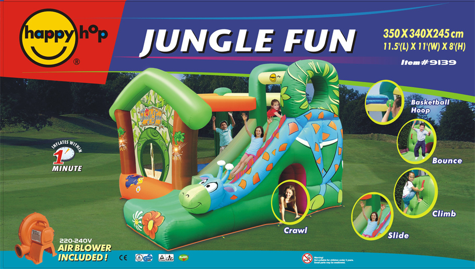 Gioco gonfiabile Jungle Fun Happy Hop modello 9139 Castello gonfiabile pluriaccessoriato Jungle Fun Happy Hop castello scivolo