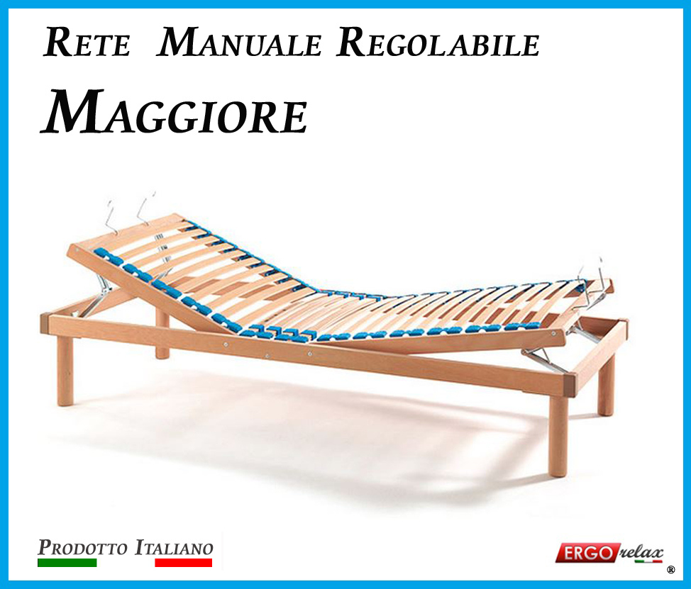 Rete Manuale Regolabile Maggiore a Doghe di Legno da Cm. 80x190/195/200 Prodotto Italiano