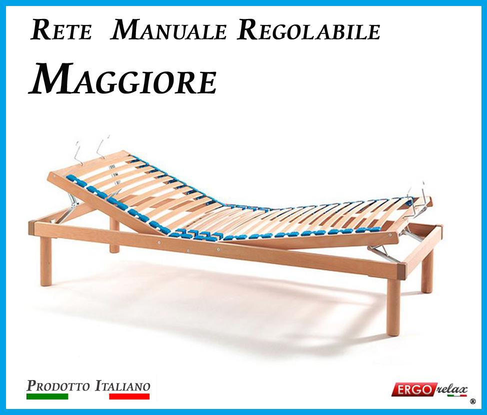 Rete Manuale Regolabile Maggiore a Doghe di Legno da Cm. 180x190/195/200 Prodotto Italiano