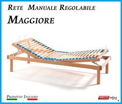 Rete Manuale Regolabile Maggiore a Doghe di Legno da Matrimoniale Cm. 160x190/195/200 Prodotto Italiano