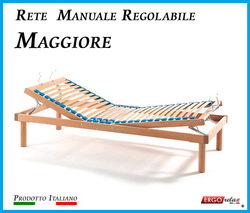 Rete Manuale Regolabile Maggiore a Doghe di Legno da Cm. 100x190/195/200 Prodotto Italiano
