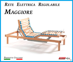 Rete Elettrica Regolabile Maggiore a Doghe di Legno da Cm. 140x190/195/200 Con Batteria di Emergenza Prodotto Italiano