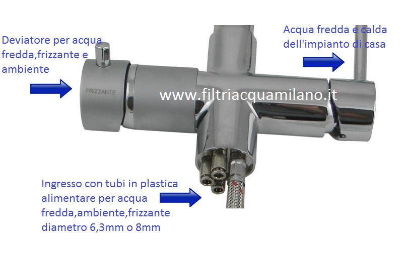 Miscelatore 5 vie Elios Cromo per acqua fredda,frizzante,ambiente più l'acqua calda e fredda dell'impianto di casa.