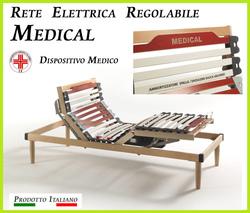 Rete Elettrica Regolabile Medical a Doghe di Legno da Cm. 85x190/195/200 Presidio Medico con Batteria di Emergenza Prodotto Italiano