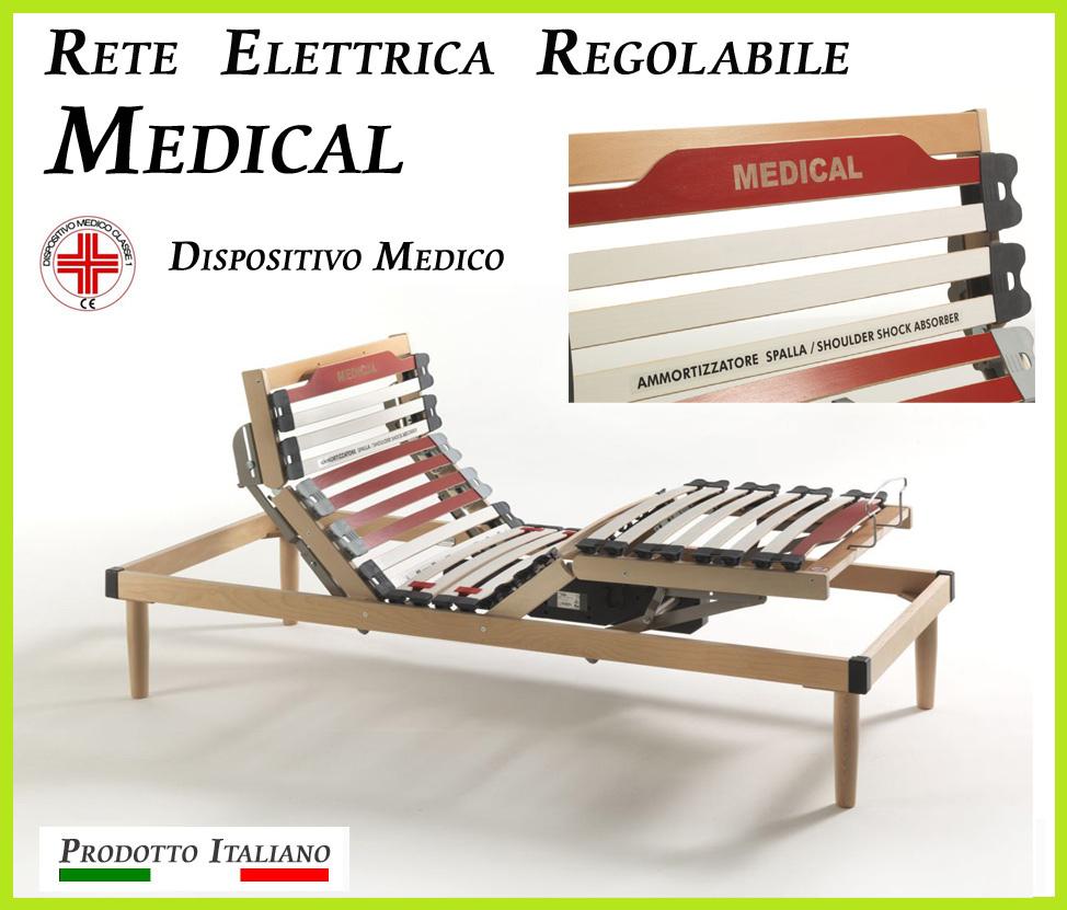 Rete Elettrica Regolabile Medical a Doghe di Legno da Cm. 120x190/195/200 Presidio Medico con Batteria di Emergenza Prodotto Italiano