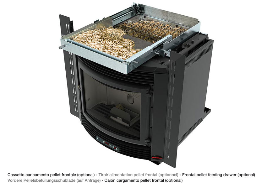 Caminetto inserto a pellet LA NORDICA mod Comfort Maxi colore nero Potenza Termica Nominale 8,9 kW 255 m3 riscaldabili