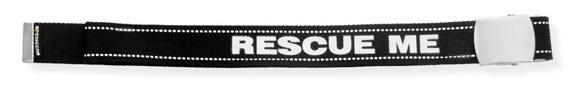 Cinta nera con scritta Rescue me