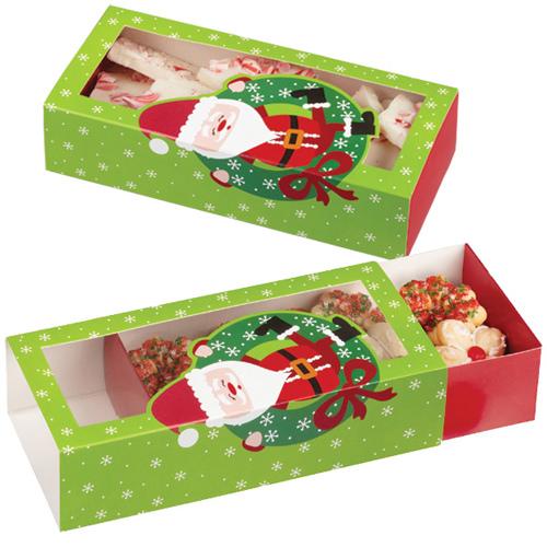 Set 3 scatole lunghe per dolcetti natalizi decoro babbo natale