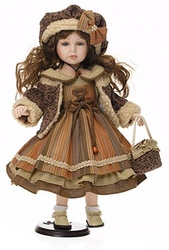 Bambola da Collezione in Porcellana Bambina con Vestito Marrone a Righe e Borsetta RF Collection qualità Made in Germany 121063